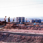 "Construction of Dorothy & Bill's home in Page, Arizona, where they landed to ""pioneer a town""."